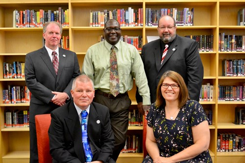 Back row left to right: Jeff Lees, Darryl Hammock, Leo Knoblauch  -   Front row left to right: WCS Board Vice President, Mike Adkins, and WCS Board President, Blythe Wood.