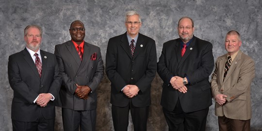 Left to right: Jeff Lees, Darryl Hammock, Zach Wright, Leo Knoblauch (Vice President), and Mike Adkins (President)